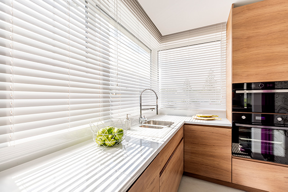 white blinds and shutters