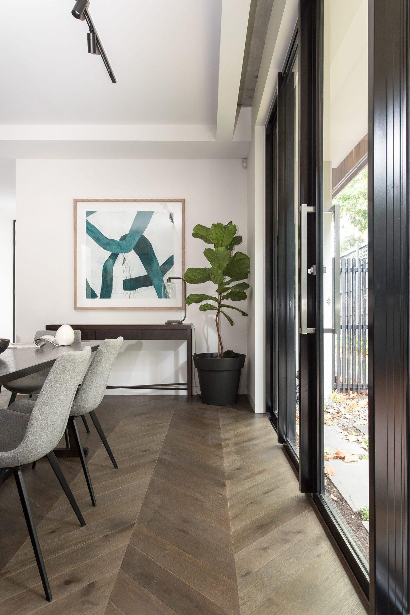 a photo of chevron timber flooring